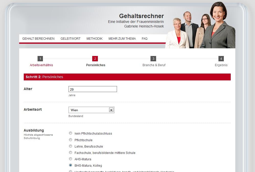 Lohnrechner / Gehaltsrechner - Quelle: www.gehaltsrechner.gv.at