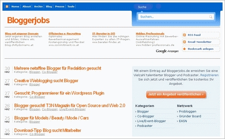 Bloggerjobs de Screenshot