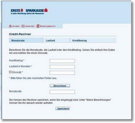 Kreditrechner Sparkasse ErsteBank