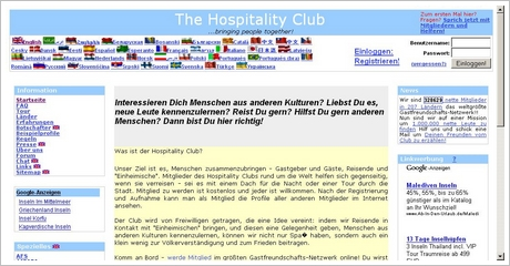 Screenshot Hospitality Club org