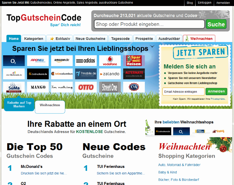Screenshot TopGutscheinCode.de