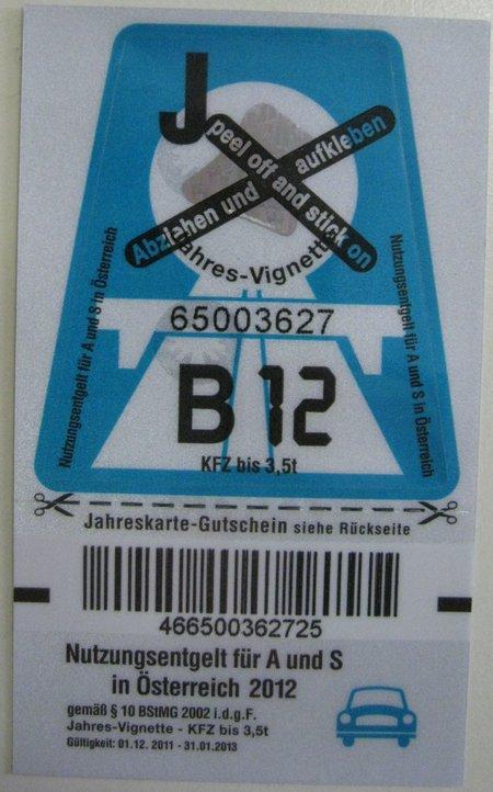 Vignette 2012 Petrol